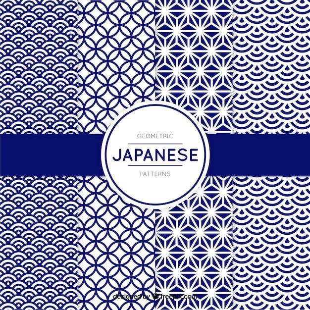 Motif de formes géométriques bleues dans le style japonais Vecteur gratuit