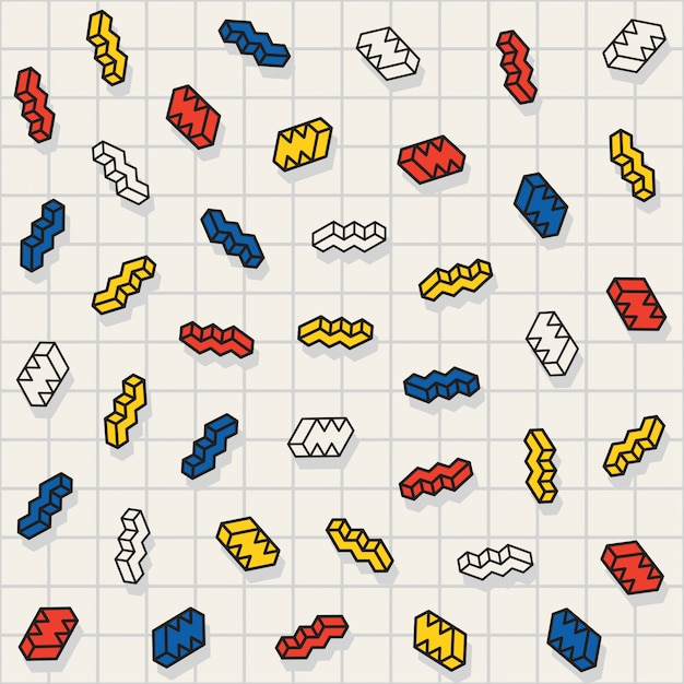 Motif de formes de zigzag dispersés multicolores sans soudure vector Vecteur Premium