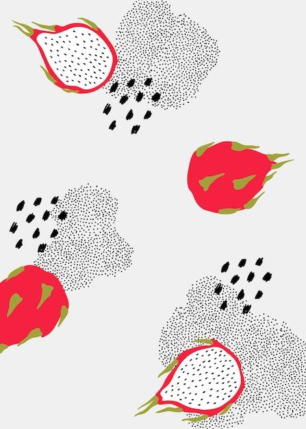 Motif fruit du dragon Vecteur gratuit