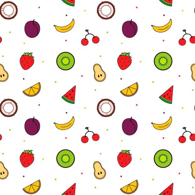 Motif de fruits d'art ligne moderne lumineux. couleur d'été Vecteur Premium