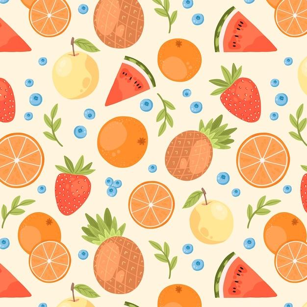 Motif De Fruits Colorés Vecteur gratuit