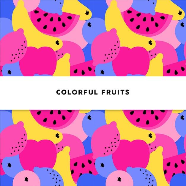 Motif de fruits colorés Vecteur Premium