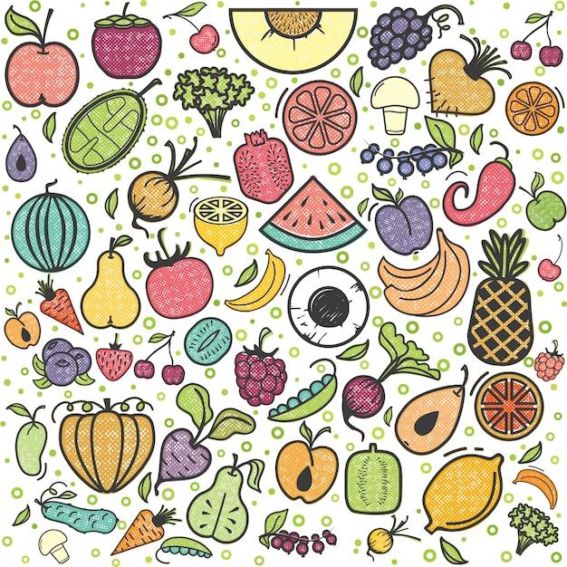 Motif fruits et légumes Vecteur Premium