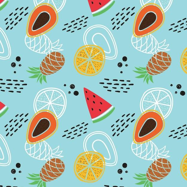 Motif De Fruits Avec Pastèque Et Ananas Vecteur gratuit
