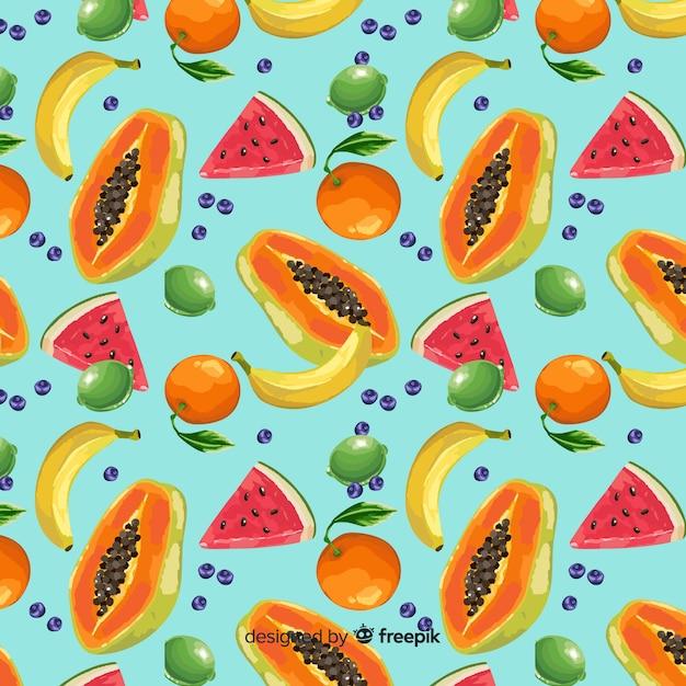 Motif de fruits tropicaux Vecteur gratuit