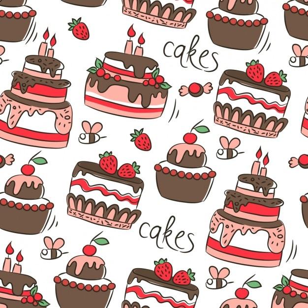Motif avec des gâteaux d'anniversaire Vecteur gratuit