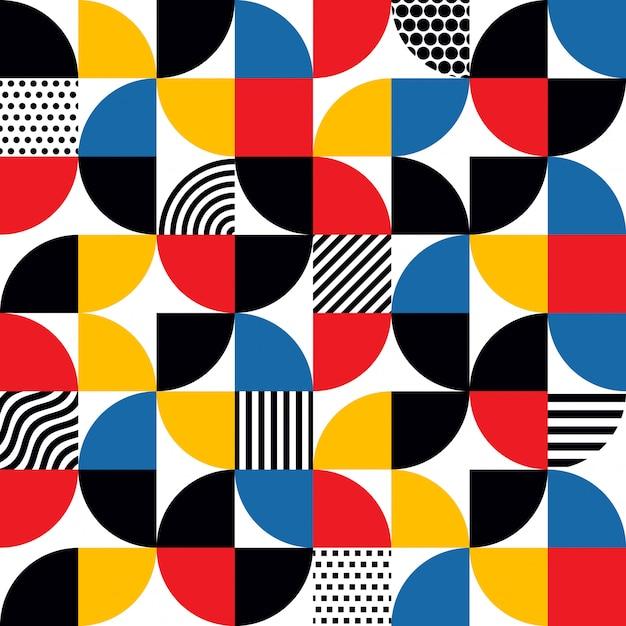 Motif géométrique abstrait de style bauhaus sans soudure Vecteur Premium