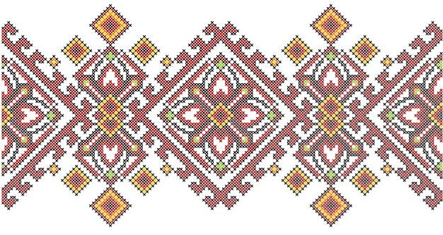 Motif géométrique de broderie au point de croix de style ethnique ukrainien. Vecteur Premium
