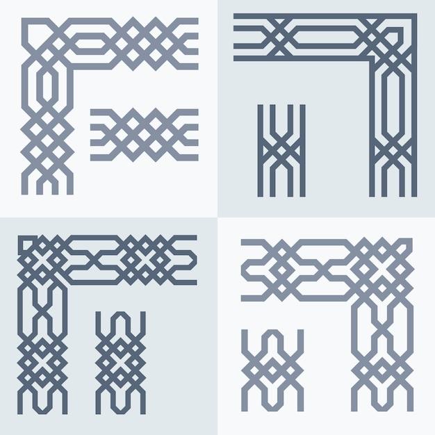 Motif géométrique de frontière arabe Vecteur Premium
