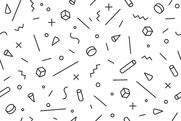 Motif Géométrique. Modèle Graphique Sans Couture Styles à La Mode Des Années 80-90, Fond Noir. Motif Blanc Noir Avec Des Objets De Formes Différentes Pour Papier D'emballage, Arrière-plan. Vecteur Premium