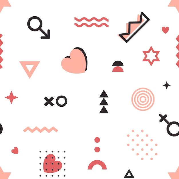 Motif géométrique de la saint-valentin dans le style de memphis. Vecteur Premium