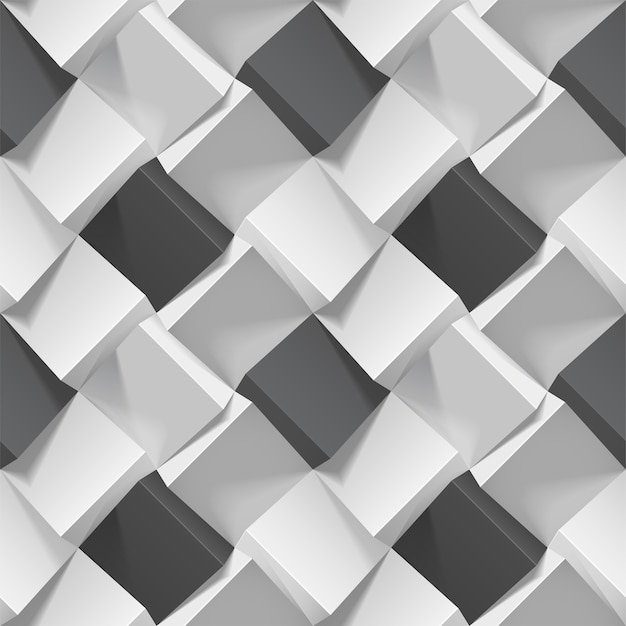 Motif Géométrique Sans Couture Avec Des Cubes Noirs Et Blancs Réalistes Vecteur Premium