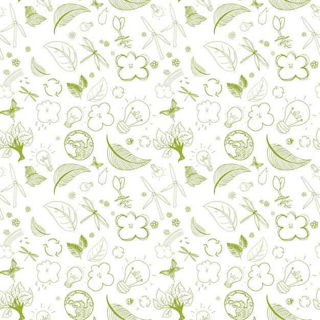 Motif de griffonnages verts écologiques Vecteur Premium