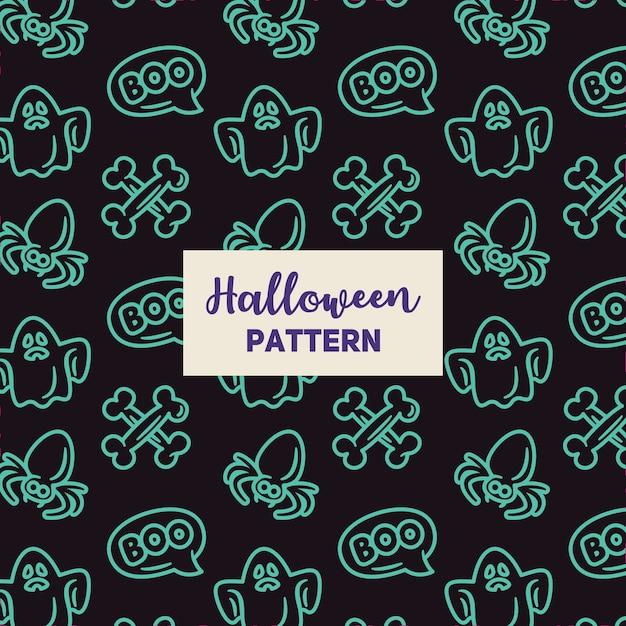 Motif d'halloween avec une araignée, un fantôme et un os. Vecteur Premium