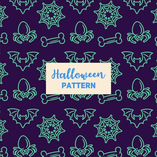 Motif d'halloween avec une chauve-souris, un os, une araignée et une toile. Vecteur Premium