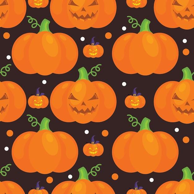 Motif d'halloween avec des citrouilles Vecteur Premium