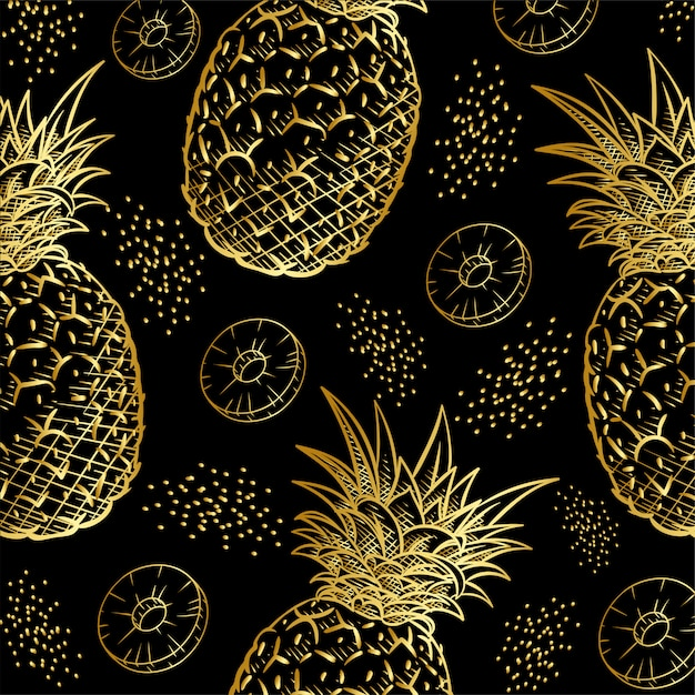 Motif imprimé fruits ananas or Vecteur Premium