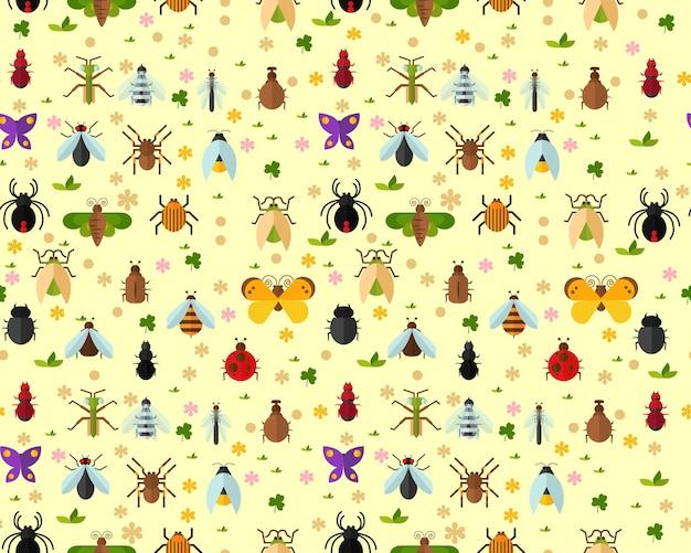 Motif d'insectes Vecteur Premium