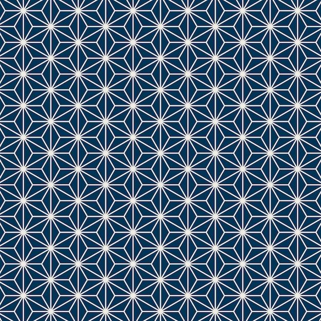 Motif japonais sans couture avec motif de feuille de chanvre Vecteur gratuit