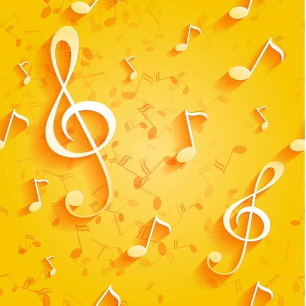 Motif Jaune Transparent Avec Des Notes De Musique Et Des Clés. Vecteur Premium