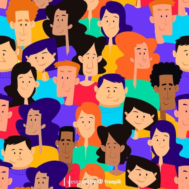 Motif de jeunes gens dessinés à la main coloré Vecteur gratuit