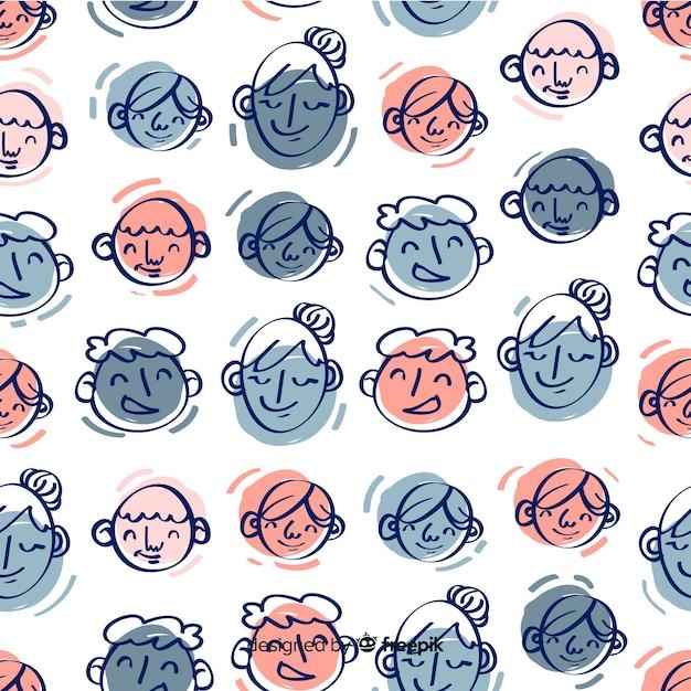 Motif jeunesse dessiné à la main Vecteur gratuit
