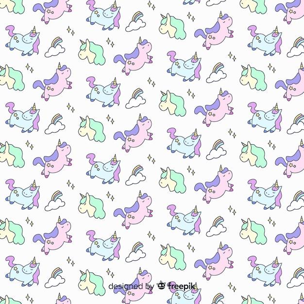 Motif de licorne mignon dessiné à la main Vecteur gratuit