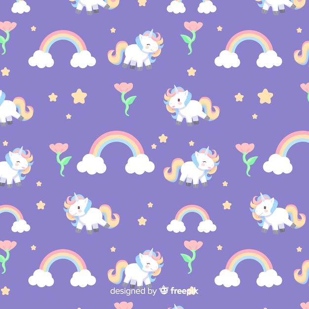 Motif de licorne mignon plat coloré Vecteur gratuit