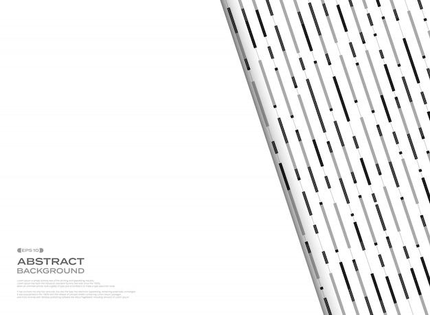 Motif de lignes abstraites bande géométrique noir et blanc Vecteur Premium