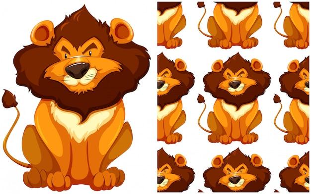 Motif de lion sans soudure isolé sur blanc Vecteur gratuit