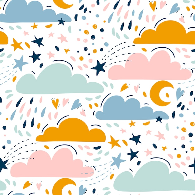 Motif Lumineux Sans Soudure Pour Les Enfants Avec De Jolis Nuages, étoiles, Lune Vecteur Premium