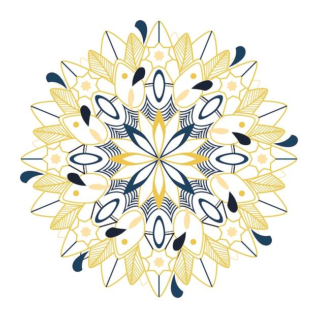 Motif de mandala coloré sur fond blanc Vecteur gratuit