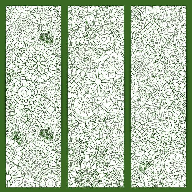 Motif de mandala floral vert Vecteur Premium
