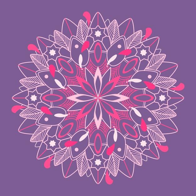 Motif mandala sur fond violet Vecteur gratuit