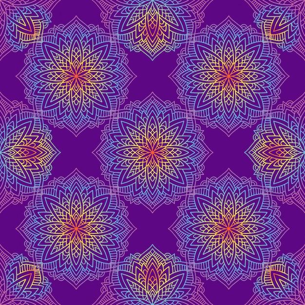 Motif Mandala Avec Des Motifs Indiens. Vecteur Premium