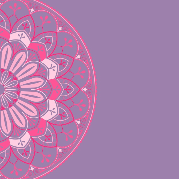 Motif De Mandala Rose Sur Fond Violet Vecteur gratuit