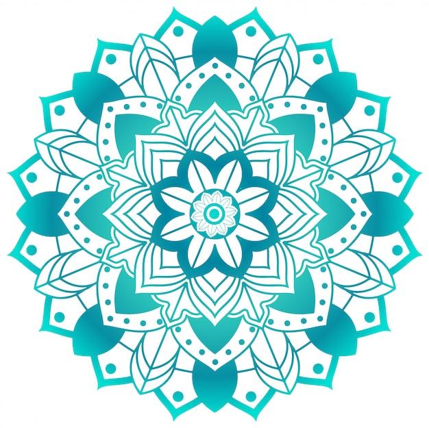 Motif Mandala En Vert Aqua Vecteur Premium