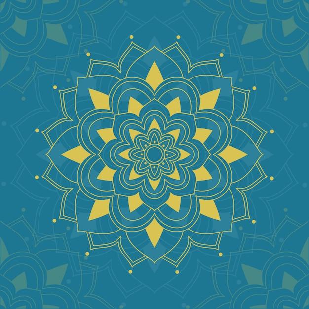 Motif De Mandalas Sur Fond Bleu Vecteur gratuit