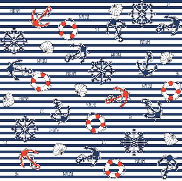 Motif Marin Sans Couture Vecteur Premium