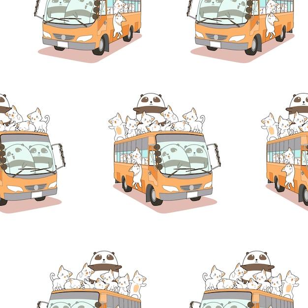 Motif mignon de chats et de panda et de bus sans soudure. Vecteur Premium