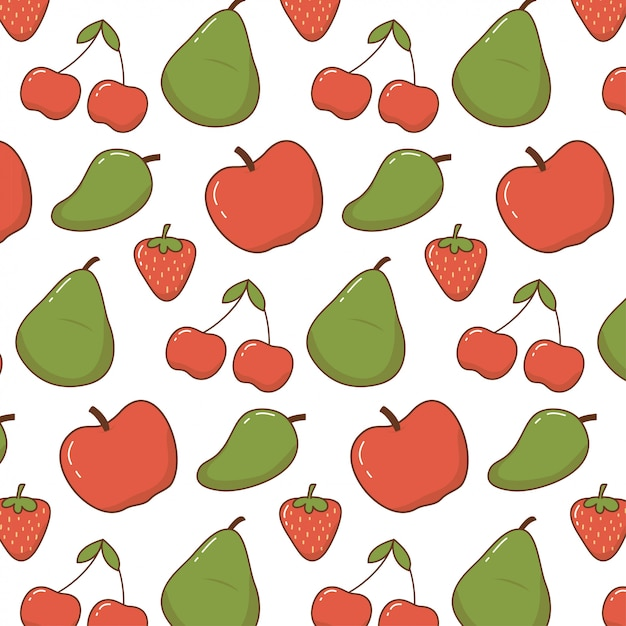 Motif Mignon De Fruits De Griffonnage Vecteur Premium