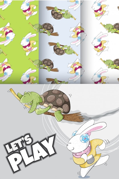Motif mignon de lapin et tortue Vecteur Premium