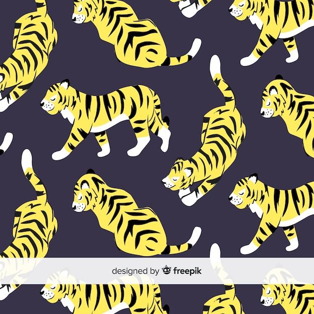 Motif mignon de tigre Vecteur gratuit