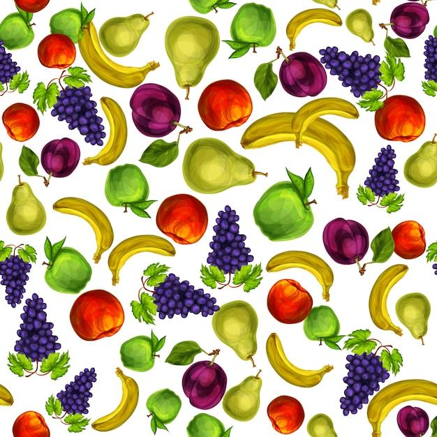 Motif mixte de fruits sans soudure Vecteur gratuit