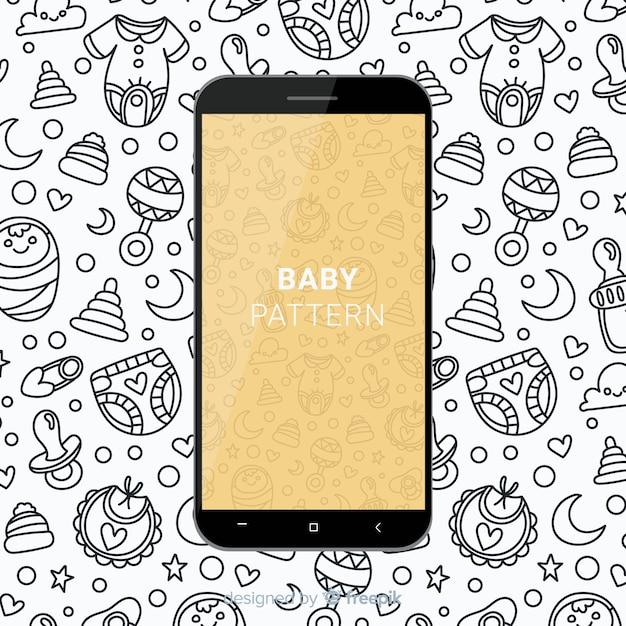 Motif mobile bébé dessiné à la main Vecteur gratuit