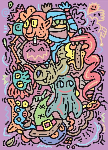 Motif de monstres drôles pour cahier de coloriage. fond noir et blanc Vecteur Premium