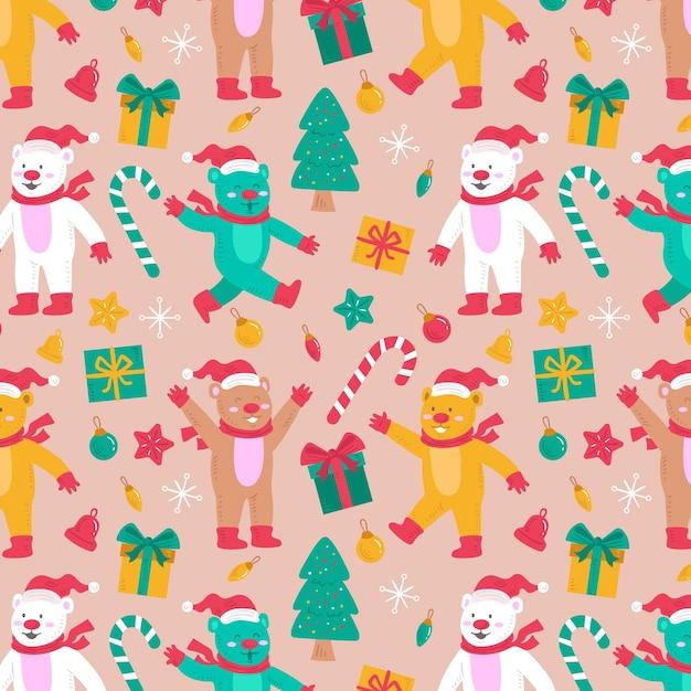Motif De Noël Drôle Vecteur gratuit