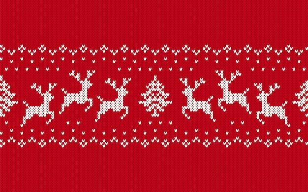 Motif De Noël Tricoté. Impression Transparente Rouge. Illustration Vectorielle. Vecteur Premium
