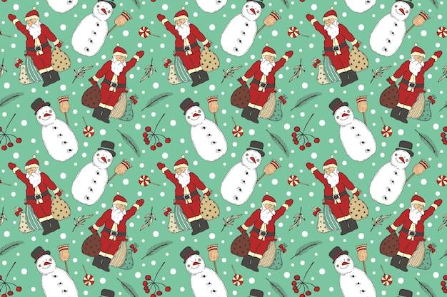 Motif De Noël Vintage Vecteur gratuit