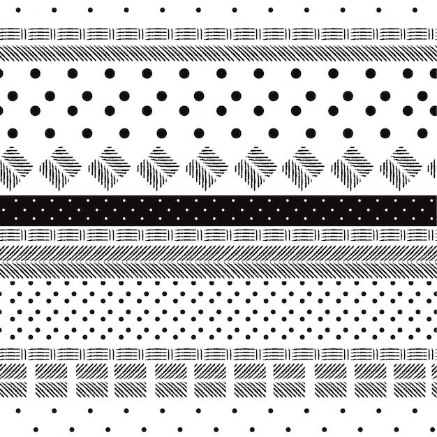Motif noir et blanc monotone Vecteur Premium
